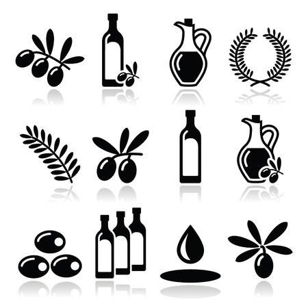 Olive oil, olive branch icons set