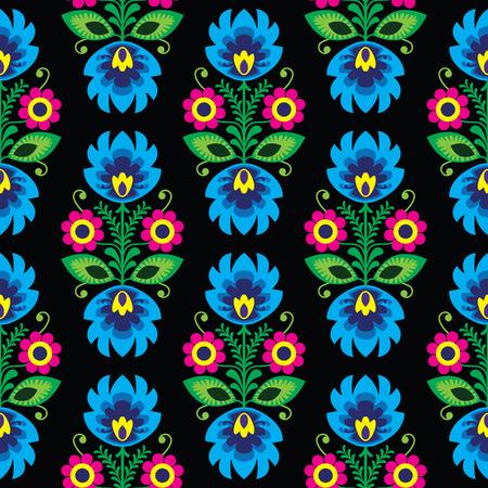 Seamless traditional floral Polish folk art pattern on black