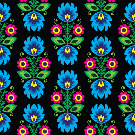 Seamless traditional floral Polish folk art pattern on black