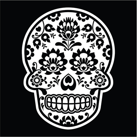 mexican folklore: Mexican sugar skull - Polish folk art style on black
