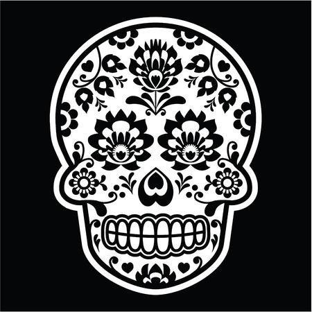 mexican folklore: Mexican sugar skull - Polish folk art style on black