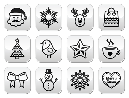Christmas, winter buttons set - Santa Claus, snowman Vector
