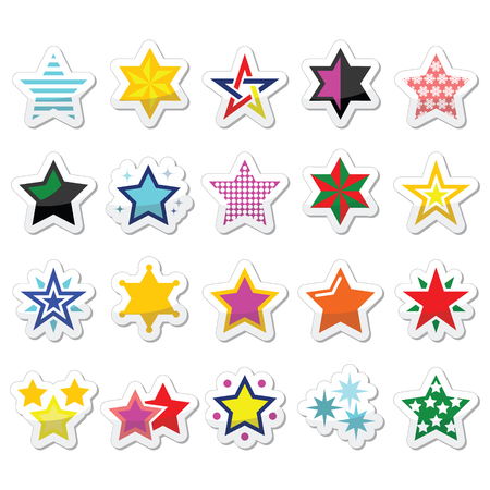 Colorful star icons isolated on white Vector