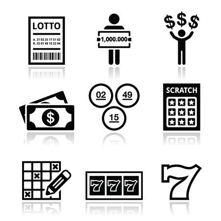 lottery win: Winning money on lottery, slot machine icons set