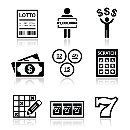 winning money: Winning money on lottery, slot machine icons set
