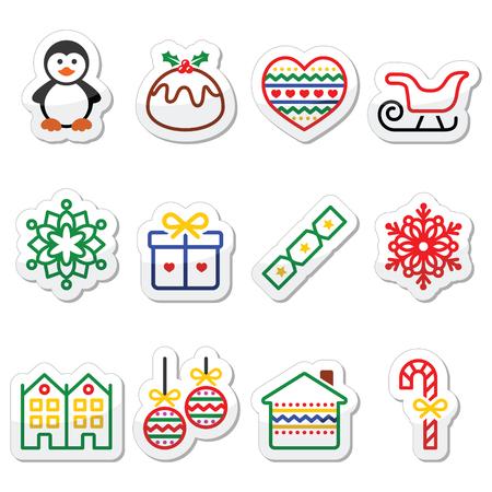 christmas pudding: Christmas, winter icons with stroke - penguin, Christmas pudding