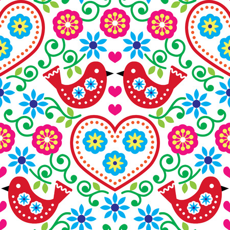 folk art: Folk art seamless pattern with flowers and birds