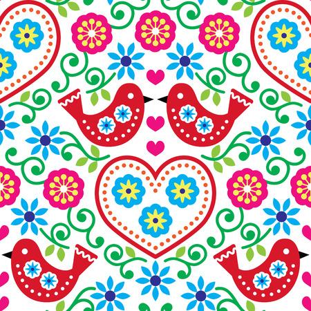 Volkskunst naadloze patroon met bloemen en vogels Stock Illustratie