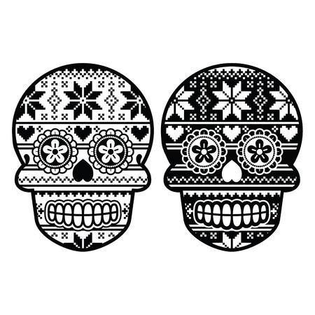 冬のノルディック柄とメキシコの黒糖の頭蓋骨
