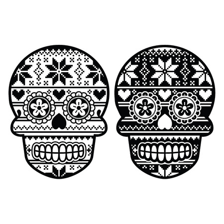 Mexican black sugar skull with winter Nordic pattern Vector