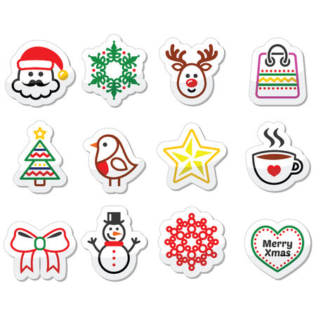 Christmas, winter icons set - Santa Claus, snowman Vector