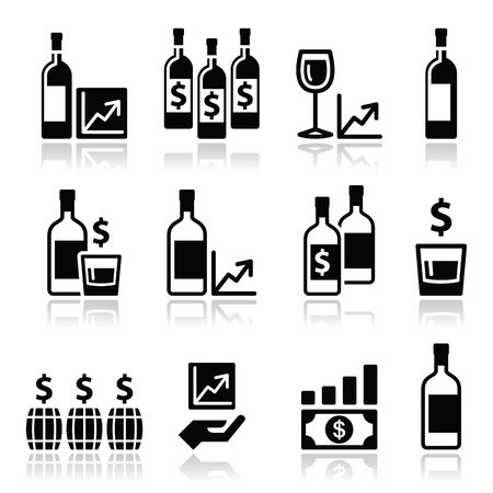 auction: Alternative investments - investing money in wine and whisky icons Illustration