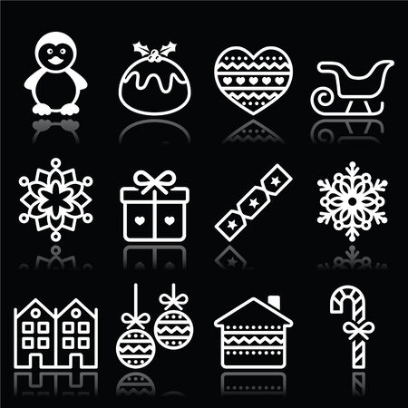 Christmas, winter white icons with stroke on black Vector