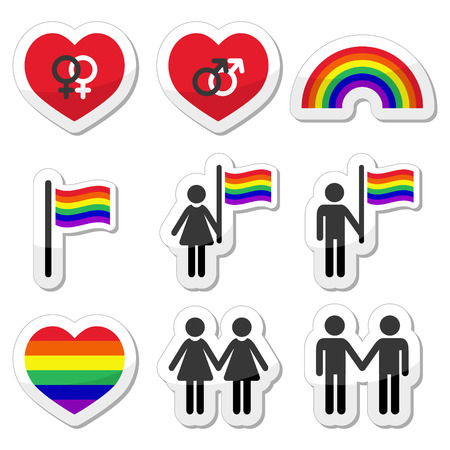 homosexual sex: Gay and lesbian couples, rainbow vector icons set