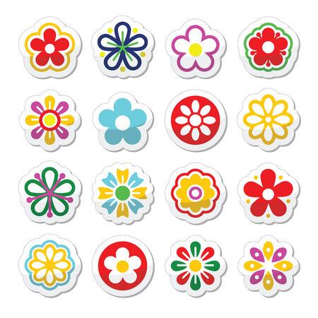 Flower head vector icons set Vector