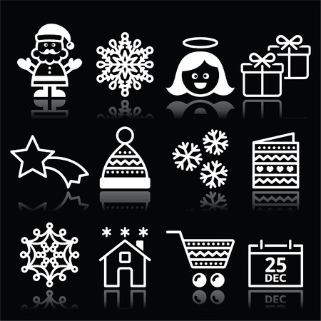 Christmas, Xmas celebrate white icons set on black Vector