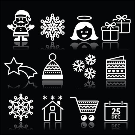aureole: Christmas, Xmas celebrate white icons set on black Illustration