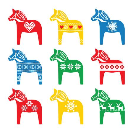 Swedish Dala, Dalecarlian horse with winter, Nordic pattern Stock Vector - 33288938