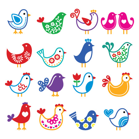 bird beaks: Folk art colorful birds vector icons set
