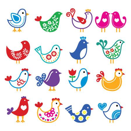 folk tales: Folk art colorful birds vector icons set
