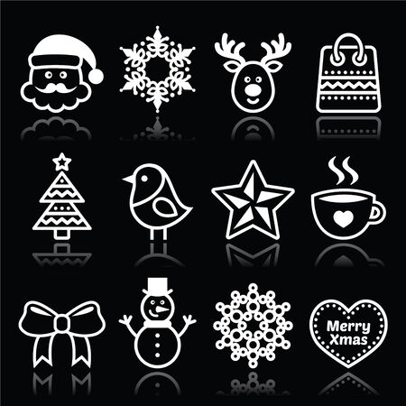 Christmas, winter white icons set on black Vector