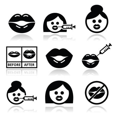 Big lips, lip augmentation icons - beauty concept Illustration