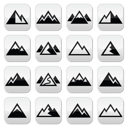 few: Mountain vector buttons set
