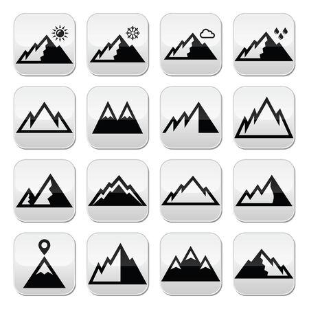 mountain peek: Mountains vector buttons set