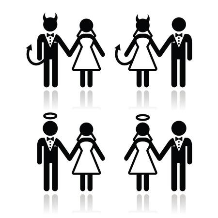 웨딩 커플 - 악마와 천사 신부와 신랑 아이콘 일러스트