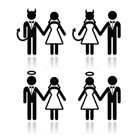 devil angel: Wedding couple - devil and angel bride and groom icons