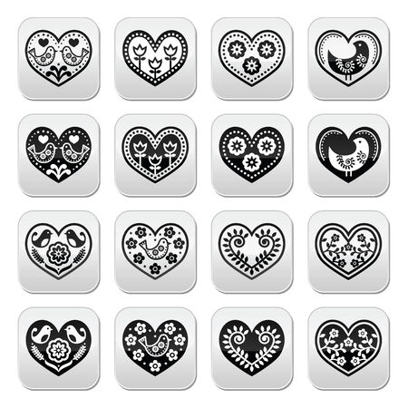 february 14th: Folk hearts with flowers and birds buttons set