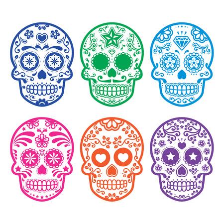 coeur en diamant: Crâne de sucre mexicain, icônes Dia de los Muertos réglée Illustration