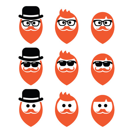 Man with ginger beard with moustache or mustache, hipster icons set Vector