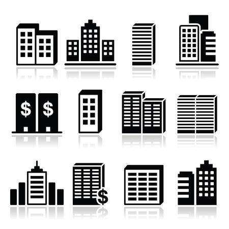 centre d affaires: Les immeubles de bureaux, les ic�nes de centre d'affaires r�gl�es Illustration