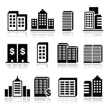 live work city: Office buildings, business center icons set