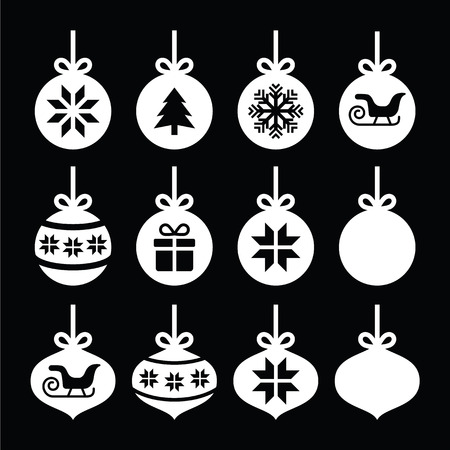 Christmas ball, Christmas bauble white icons on black Stock Illustratie