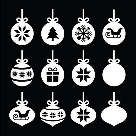 present: Weihnachtskugel, Christbaumkugel wei�e Symbole auf schwarz Illustration