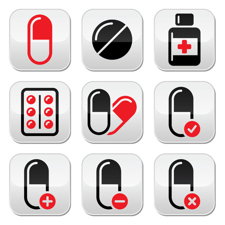 Pills, medication red and black vector icons set Vector