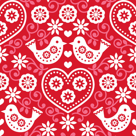 folk tales: Folk art red seamless pattern with flowers and birds