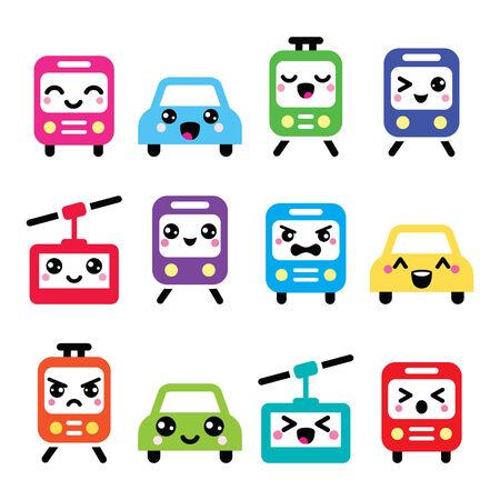 ojos caricatura: Iconos lindos de Kawaii - coche, autobús, tren, tranvía y la góndola Vectores