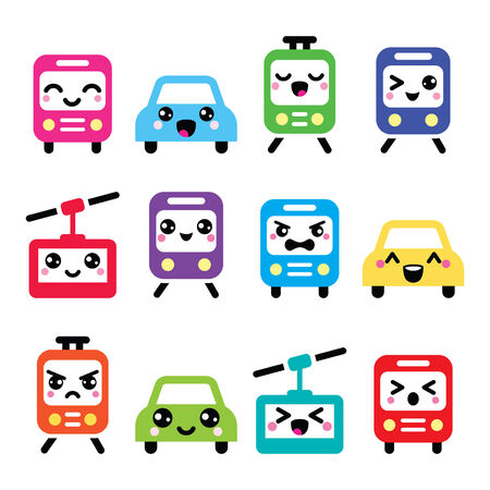 metro train: Kawaii cute icons - car, bus, train, tram and gondola Illustration