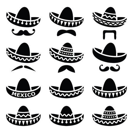 mexico: Mexican Sombrero hat with moustache or mustache icons
