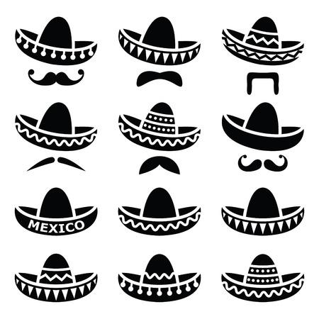 bigote: Sombrero mexicano del sombrero con el bigote o bigote iconos