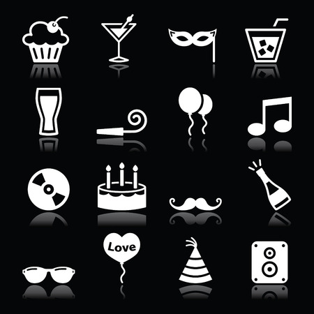 Party icons set - birthday, New Years, Christmas on black Vector