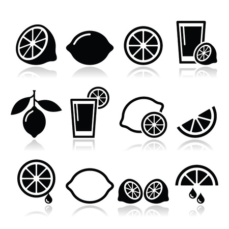 Lemon, lime icons set