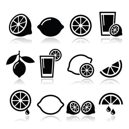 Lemon, lime icons set Vector