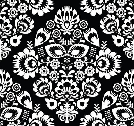 Polish folk art white seamless pattern on black - wzory lowickie, wycinanki Vector