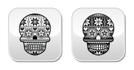 sugar skull: Mexican black sugar skull buttons with winter Nordic pattern