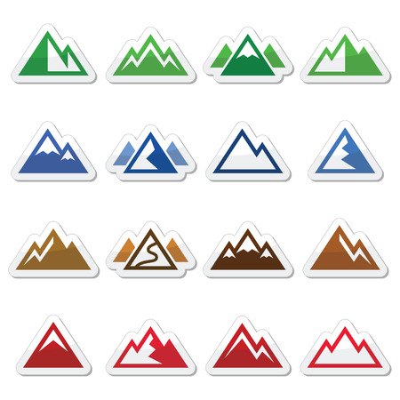 Mountain vector icons set Stock Illustratie