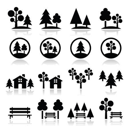 banc de parc: Les arbres, forêt, icônes vectorielles de parc mis Illustration
